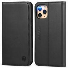 Black Wallet Case iPhone 11 Pro Genuine Leather Folio Cover Kickstand Card Slots