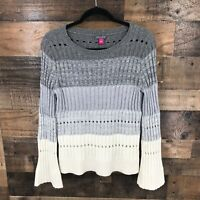 Vince Camuto Women's Gray Ombre Stripe Chunky Ribbed Knit Flare Sleeve Pullover