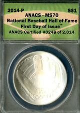US Coin 2014-P Silver Baseball Hall Of Fame Dollar ANACS MS70 NO RESERVE!