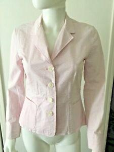 New Lauren Ralph Lauren Pink & White Seersucker Blazer Jacket Sz Petite/Small
