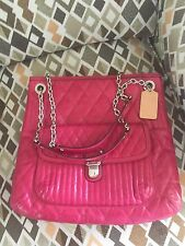 NWOT  Coach Liquid Gloss Poppy Quilted Leather Tote 19854 Magenta Shoulder Bag
