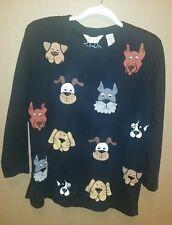 Bechamel *Animal Lovers*Dog Appliques*Cotton*Long Sleeve*Black Shirt*Size Medium