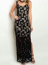 Women's Black Lace Sleeveless Formal Wedding Maxi Dress Size S=8-10-12 New