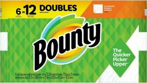Bounty Full Sheets Paper Towels, Double Rolls 6=12 Rolls, Fast Shipping