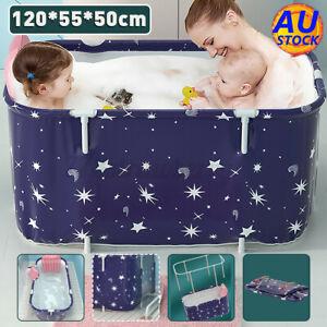 120CM Large Bath Sauna Adult Folding Bathtub Barrel SPA Household Tub Family AU