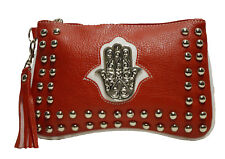Moroccan Faux Leather Purse Clutch Pouch Casual Evening Cosmetic Bag MED Red