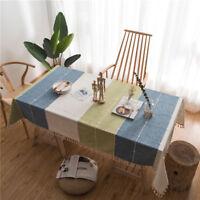 Plaid Decorative Table Cloth Cotton Linen Lace Tassel Tablecloth Table Cover
