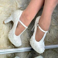 Ladies Bridal High Heel T Bar Shoes LACE & PEARLS Embellished Block heel Ivory