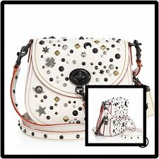 Coach 1941 Stardust Studded Leather Saddle bag SOLD OUT *Saks Exclusive*| Chalk