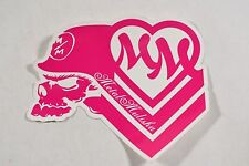 "Metal Mulisha MULISHA GIRLS Pink White 6"" Skull Helmet Heart Logo 1Pc Sticker"