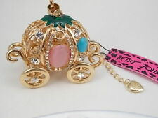 Betsey Johnson Cinderella Fairy Tail Godmother Pumpkin Carriage Necklace in Gold
