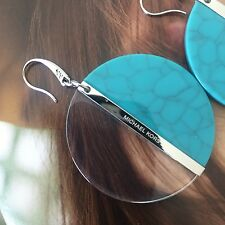 Michael Kors MKJ5559 Silver Turquoise Colorblock Acetate Disc Drop Earrings NWT