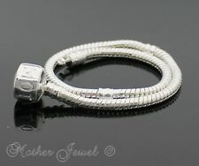 21CM STERLING SILVER SP  EUROPEAN BEAD MOTHER INSCRIBED CLASP BRACELET 8.3""