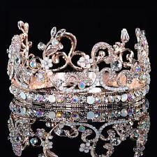 Rose Gold Flower Leaf Crystal Wedding Bridal Crown Rhinestone Opal Pageant Tiara