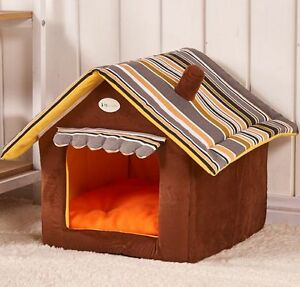 Chimney Stripe Pet Dog Cat Sofa Bed House Indoor House Kennel Tent New S-L
