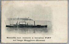 Battello con motore a benzina FIAT su Lago Maggiore Stresa Viaggiata 1908 ADV PC