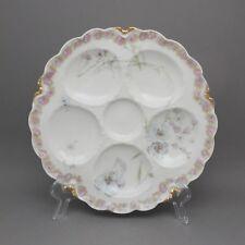 Antique Victorian Haviland Limoges France Porcelain Scallop Oyster Plate Floral