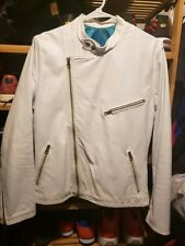 Vintage White Cafe Racer Leather Moto Jacket Brimaco Kett British Cycle Leathers