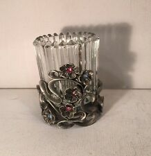 """Party Lite Metal Candle Holder With Flower And Crystal Design 3"""" Tall Gray"""
