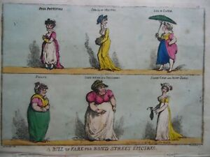 1808 Satirical Print Woodward + Rowlandson A Bill of Fare for Bond St Epicures