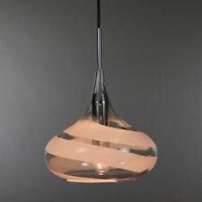 Lustre Antique en Laiton-Verre Blanc pranzene pendule Lampe Style Art Déco Lampe