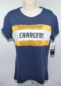NWT Majestic Los Angeles Chargers NFL Sequin Shiny Blue Gold T Shirt Womens M