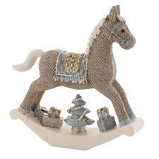 Nostalgie Schaukelpferd Pferd Deko Weihnachten weiß braun Vintage Shabby Stil
