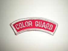 US ROTC MILITARY COLOR GUARD TAB PATCH - WHITE ON RED
