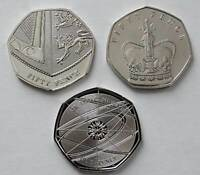 2012 2017 2018 BU 50p Coins Royal Mint & Isle Of Man Fifty Pence Coins Set of 3