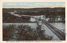 Suspension Bridge Mississippi Rvr Marquette Iowa Prairie Du Chien WI postcard