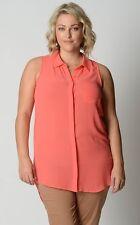 Sportsgirl Ladies Fashion Sleeveless Button Down Shirt sizes 6 8 12 14 Apricot