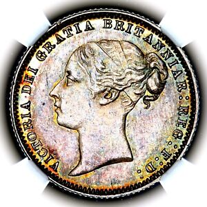 1876 Victoria Great Britain London Mint Silver Six Pence Sixpence 6P NGC MS64