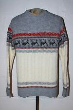 VTG Jantzen Mens Ugly Tacky Christmas Crewneck Cable Knit Sweater W Reindeer M