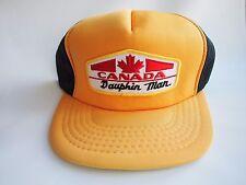 Dauphin Manitoba Maple Leaf Yellow & Black Snapback Trucker Hat Vintage Cap