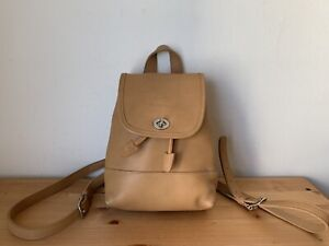 Vintage COACH 9960 tan color leather Turnlock Drawstring backpack bag