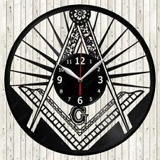 Freemasonry Vinyl Record Wall Clock Decor Handmade 1112