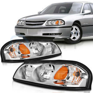 Headlights Assembly Kit For Chevy Impala 2000-2005 Headlamp Replacement Pair Set