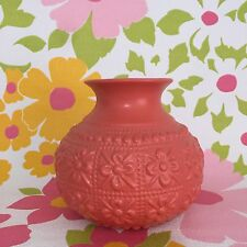 EMBOSSED VASE Milly & Eugene Ceramic HANDCRAFTED Coral Floral Decorative