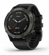 Garmin Fenix 6 Sapphire 47mm Case with Silicone Band GPS Running Watch - Black with Carbon Grey DLC Bazel