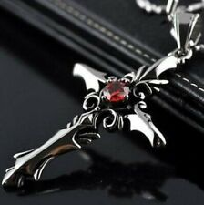 VAMPIRE DIARIES SILVER RED CRUCIFIX CROSS PENDANT NECKLACE - DESIGN 1