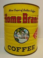Vintage 1960s HOME BRAND COFFEE GRAPHIC 3 POUND COFFEE TIN MINNEAPOLIS MINNESOTA