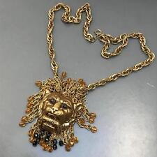 Vintage Unsigned Designer Gold Plated Crystal Fringe Lion Head Pendant Necklace