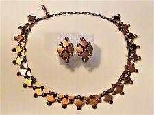 VTG 1950s RENOIR Copper Demi-Parure Choker Necklace & Earrings - signed