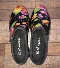 Women's Size 9 Black Floral Garden Shoes