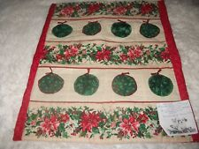 """""""Ornaments & Poinsettias"""" Wall,Table or Doll Quilt, Handmade, 23""""x20"""" Great gift"""