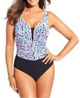 Profile By Gottex One Piece Sz 24W Black Blue Multi Swimsuit Swimwear E515-2W81