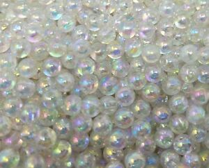 1,000 pcs Iridescent Transparent AB Bubble Plastic Pearls 6mm Round Craft Beads