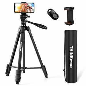 "THINKWORK Lightweight Camera Tripod 55"", Phone Tripod Stand with Bluetooth"