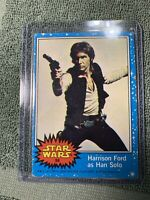 Topps STAR WARS 1977 Blue Trading Card #58 Error- (Off Center)-Harrison Ford