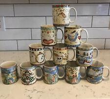 222 Fifth TWELVE DAYS OF CHRISTMAS Coffee Mugs Coffee Cups Holiday **11 Mugs**